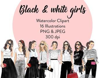 Black and White Girls Watercolor Clipart, fashion illustration, fashion print, watercolour, fashion clipart, girl logosprintable art