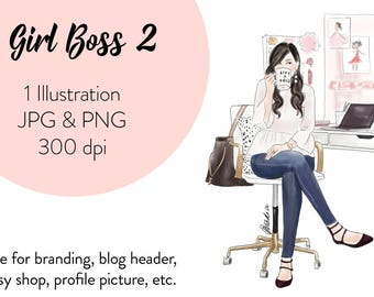 Girl Boss 2 Fashion illustration clipart, printable art, instant download, fashion print, watercolor clipart