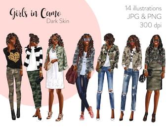 Girls in Camo - Dark Skin Fashion illustration clipart, printable art, instant download, fashion print, watercolor clipart