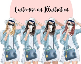 Customize an illustration, Fashion illustration clipart, printable art, instant download, fashion print, watercolor clipart