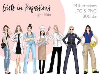 Girls in Professions - Light skin Fashion illustration clipart, printable art, instant download, fashion print, watercolor clipart