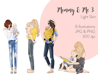 Mommy & Me 3 - Light Skin Fashion illustration clipart, printable art, instant download, fashion print, watercolor clipart