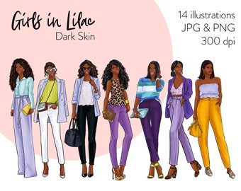 Girls in Lilac - Dark skin Fashion illustration clipart, printable art, instant download, fashion print, watercolor clipart