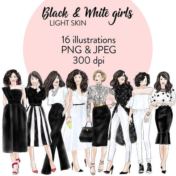 Watercolour Clipart Illustrated Clipart Black And White Etsy