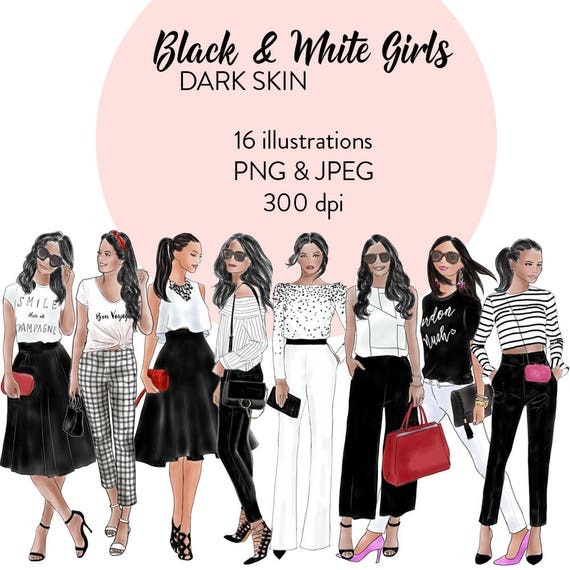 Watercolour Fashion Clipart Black White Girls Dark Skin Etsy