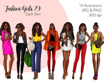 Fashion Girls 29 - Dark Skin Fashion illustration clipart, printable art, instant download, fashion print, watercolor clipart