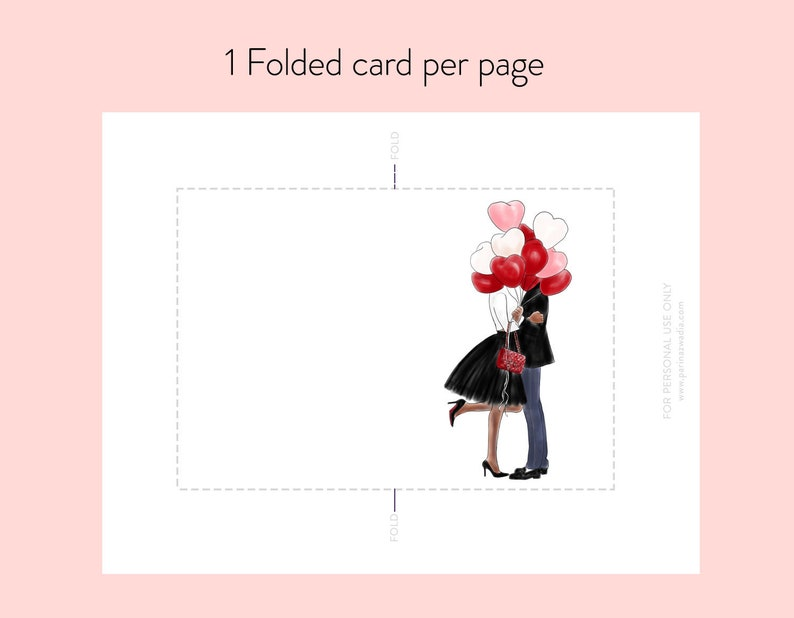fashion illustration Dark Skin instant download Fashion note cards Printable Note Cards Couple with Balloons