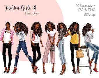 Fashion Girls 31 - Dark Skin Fashion illustration clipart, printable art, instant download, fashion print, watercolor clipart