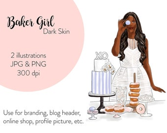 Fashion illustration Baker Girl - Dark Skin, printable art, instant download, fashion print, watercolor illustration