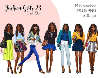 Fashion Girls 23 - Dark Skin Fashion illustration clipart, printable art, instant download, fashion print, watercolor clipart