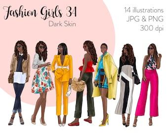 Fashion Girls 34 - Dark Skin Fashion illustration clipart, printable art, instant download, fashion print, watercolor clipart