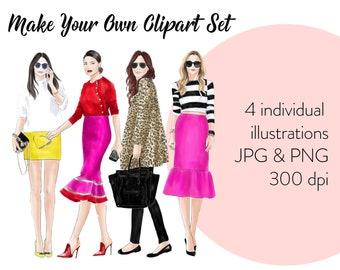 Fashion illustration clipart, Custom clipart, Printable art, fashion clipart, instant download, fashion print, girl logo