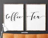 Coffee Tea, Set of 2 Prints, Minimalist Art, Typography Art, Wall Art, Multiple Sizes, Home Wall Art