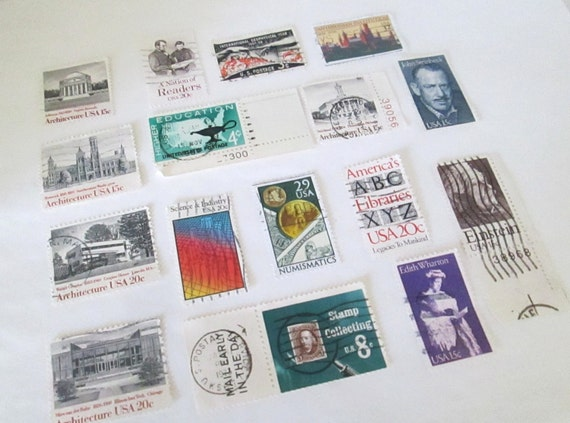 Vintage Postage Stamps Education Craft Supplies Assemblage