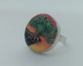 Bonsai tree ring, polymer clay