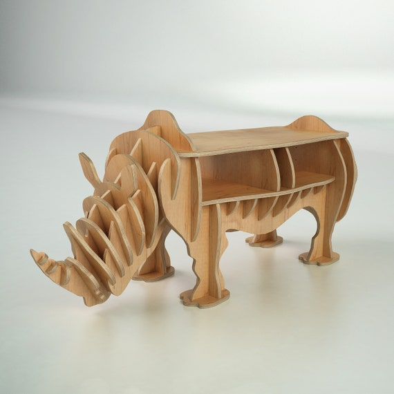 cnc cutting templates for wood rhinoceros bookshelf etsy