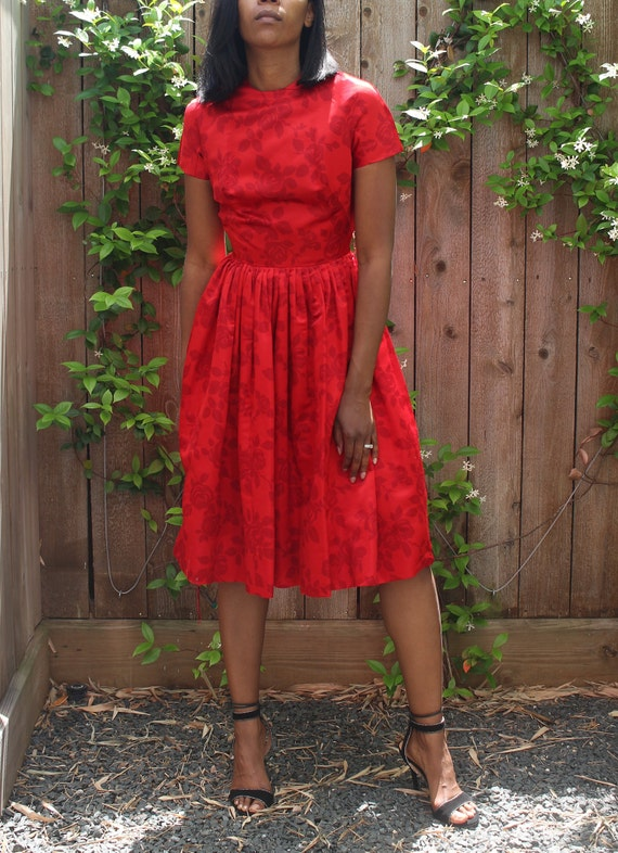 Vintage Red Tea Dress