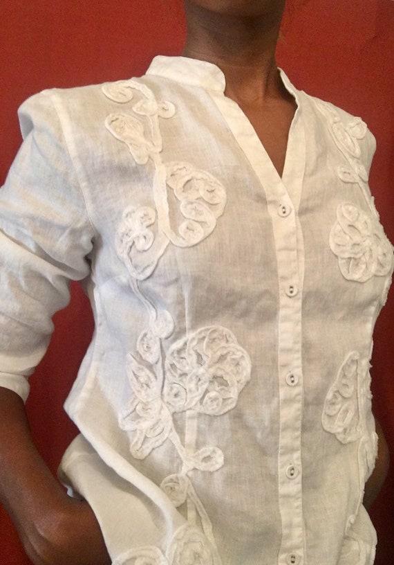 Vintage White Linen Top