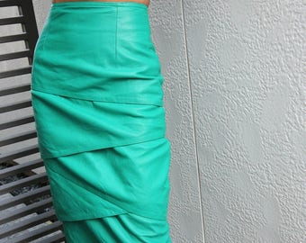 Vintage Green Tiered Leather Skirt