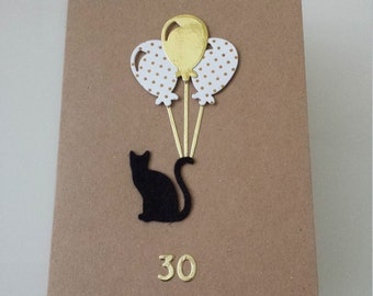 personalised cat birthday card // mum card // mom  // cat balloons // 18th // 21st // 30th // 40th // 50th // 60th // sister // daughter