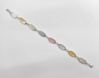 """Mother Of Pearl, Sterling Bracelet, Vintage Bracelet, Pearl Bracelet, Vintage Sterling Silver Blue Pink Mother Of Pearl Bracelet 7.5"""" #4469"""