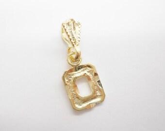 Genuine Solid 10K Yellow Gold Diamond Cut #0 Pendant #4346