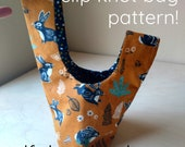 PDF Pattern - Reversible Slip Knot Bag - Zero Waste Pattern - Beginner Sewing Pattern - Bag, Napkin, Utensil Holder - Knitting project bag!