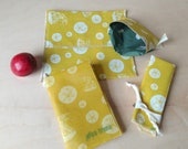 Zero Waste Lunch Kit - Organic Cotton - Kids Lunch Kit - Beeswax Wrap, Snack Bag, Sandwich Bag, Napkin, Made with Zero Waste