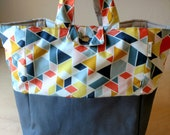 Large washable organic cotton lunch bag - multicolored and gray