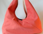 Market Tote - Organic Cotton Canvas - Handmade with Zero Waste - Plastic Free - Coral - Pink - Modern Chic Tote - Great for shopping, beach