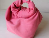 Washable organic cotton lunch tote - coral pink -All natural, no synthetics.  Women's lunch bag. Men's lunch tote. Kids lunch bag