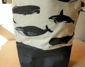 Washable organic cotton lunch tote - black and cream-whales-All natural, no synthetics.  Women's lunch bag. Men's lunch tote. Kids lunch bag