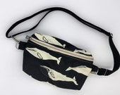 Organic cotton fanny pack - black with whales