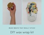 Zero waste beeswax & vegan wrap kit.  DIY wax bars.  Rewaxing bars for beeswax wraps.