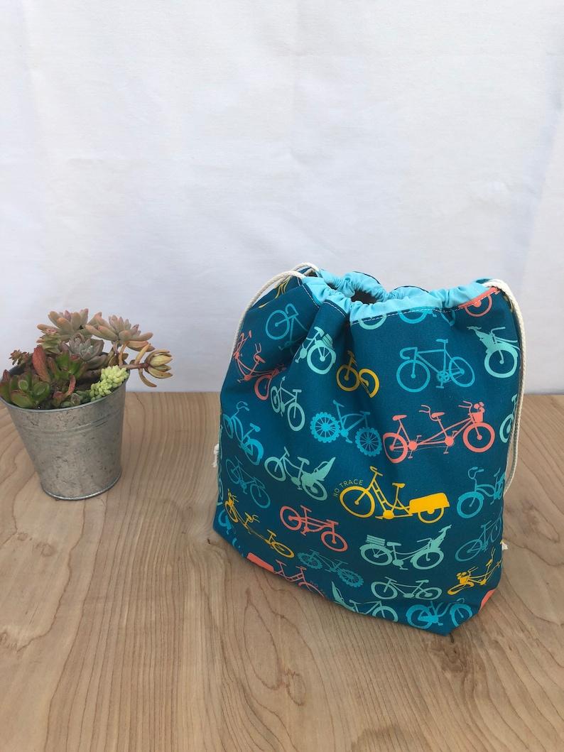 Washable organic lunch bag. Drawstring closure bag. Large zero image 0