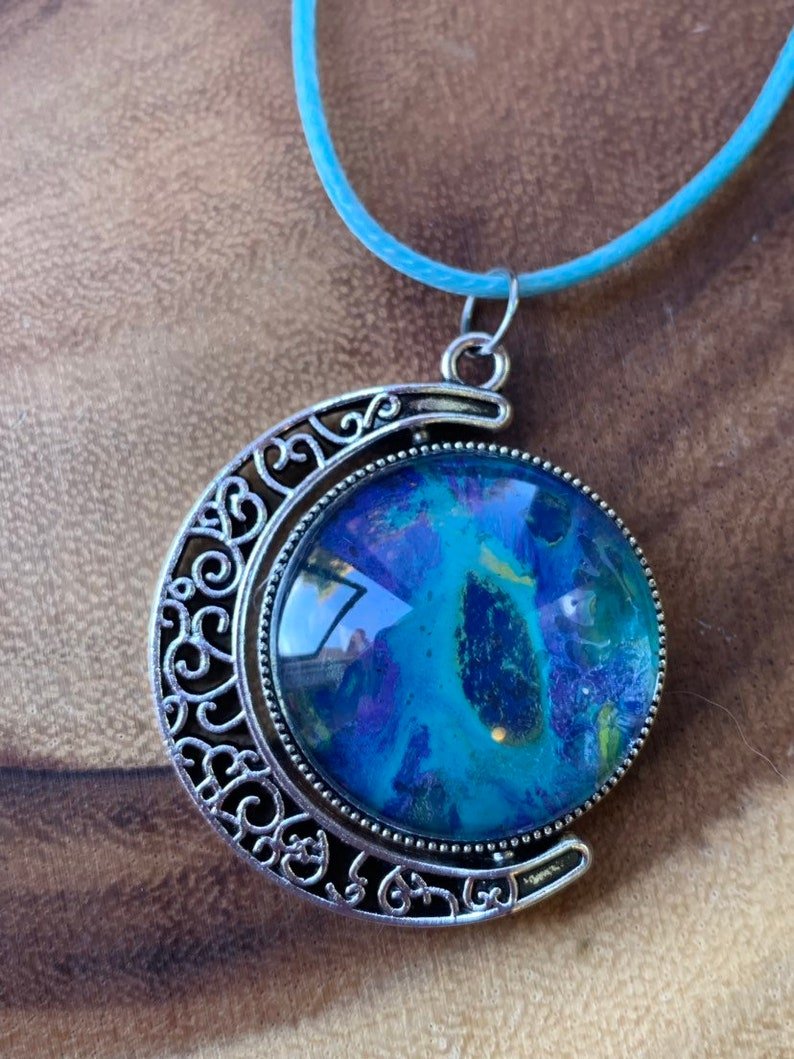 Free Crystal Gift FREE US Shipping Moon Pendant  High Vibe Pour Art Acrylic Pendant with Colorful chain Reiki Charged