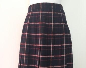 7df2bfce11 Plaid Pleated Wool Skirt    Schoolgirl Skirt    Vintage Talbots Wool Tartan  Skirt