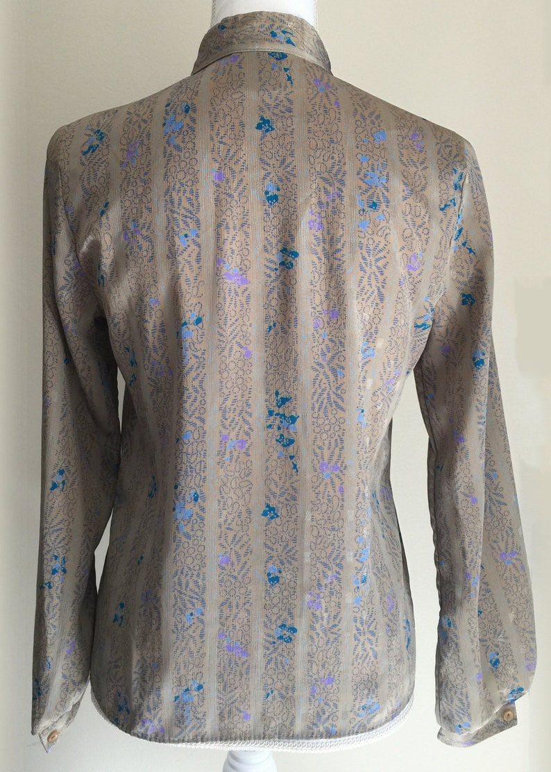 Vintage 80\u2019s Silky Patterned Button Up Long Sleeve Blouse with Bow Your Sixth Sense