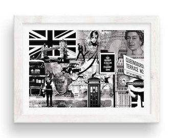 London Calling // Collage Poster  - Black