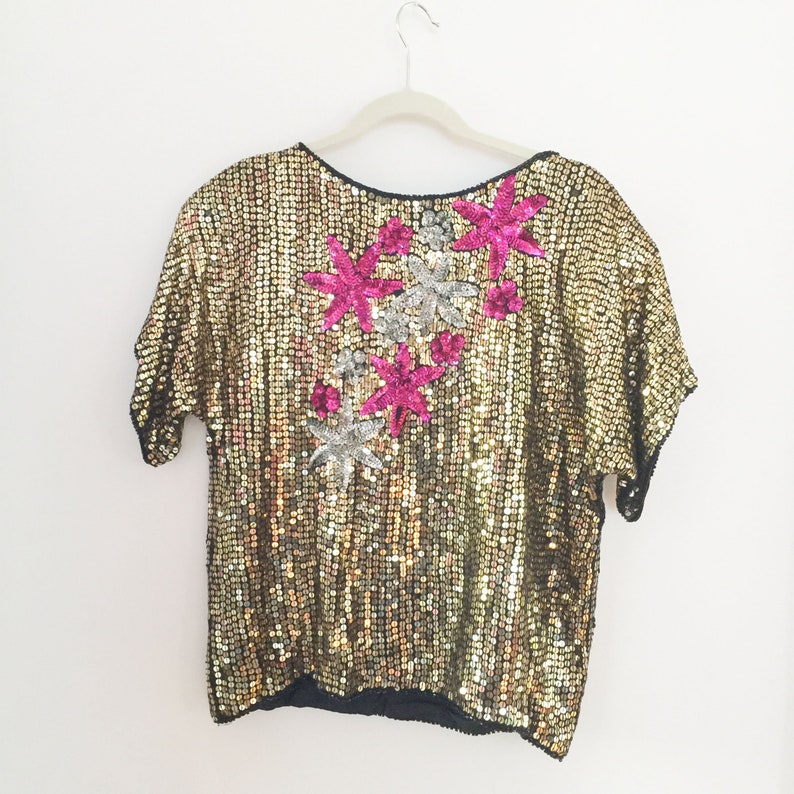 21ceb0ad4c8c9 Vintage 80s Disco Party Sequin Pullover Top Gold with Pink and