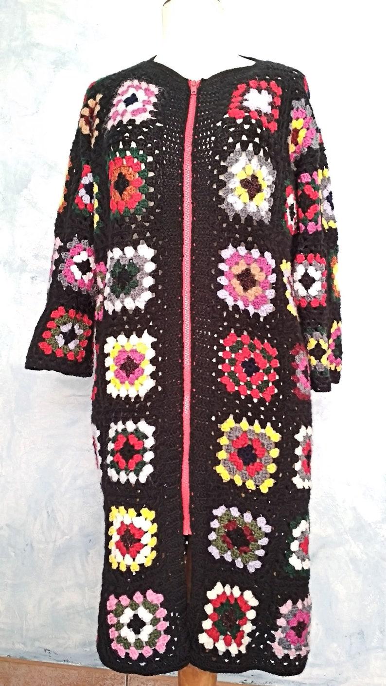 2b7b5e3a2c4 Manteau long. Granny Square laine. Au crochet manteau.