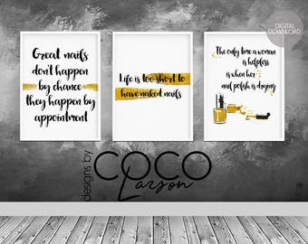 Nail Art Salon Decor Set Of 3 Prints Beauty Wall Manicure Gold Foil Print Download