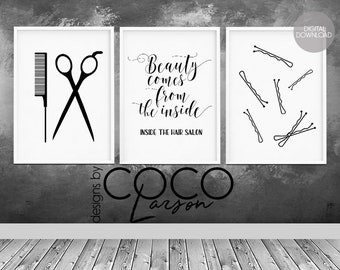 Hair Salon Decor Hairdressing Scissors Quote Wall Art Beauty Stylist Gift Hairdresser Set Of 3