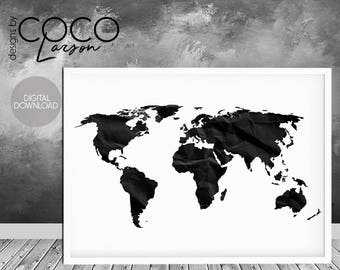 World map print world map poster black and white large etsy world map print world map poster black and white large world map black world map world map printable world map silhouette black map gumiabroncs Gallery