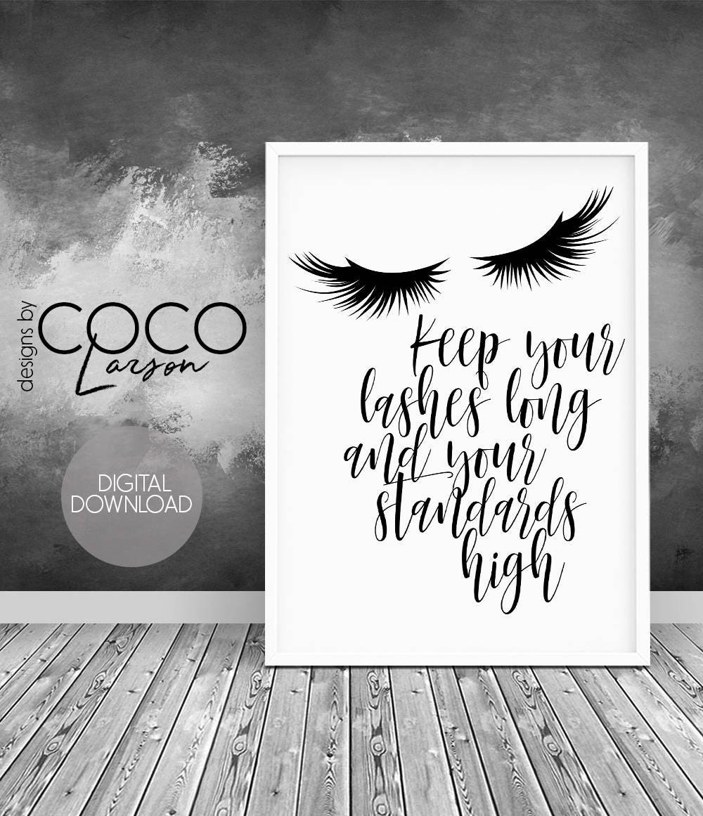 teen girl wall art lashes print inspirational quote fashion etsy. Black Bedroom Furniture Sets. Home Design Ideas