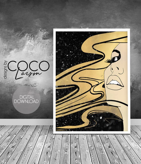 Makeup vanity decor gold bedroom decor teen girl room decor gold wall decor  black gold decor beauty salon decor fashion art hair salon decor