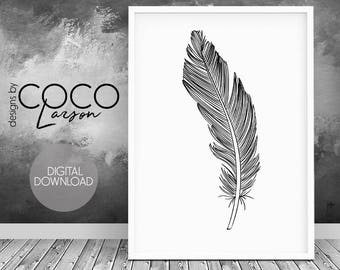 Black feather, feather print art, feather printable, feather art, feather wall decor, black feather print, Wall Art, Instant Download