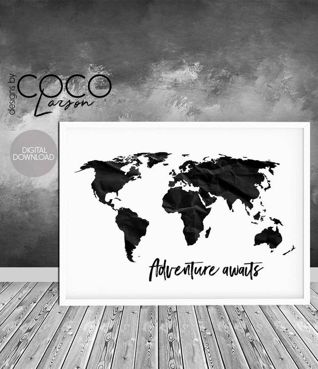 Adventure awaits print travel print world map poster black etsy image 0 gumiabroncs Choice Image
