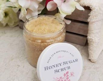 Honey Sugar Scrub / All Natural Sugar Scrub / Sugar Scrub / Body Scrub / Gift for Her / Face Scrub / Exfoliating Scrub / Bath / Shower / Spa