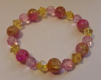 Pink bead bracelet, stretch bracelet, bracelet.